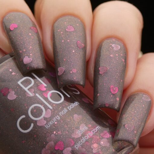 Chaos Heart.000 Gray Nail Polish with Pink Heart Glitter by PI Colors