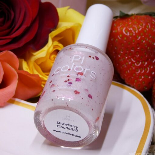 Strawberry Clouds.252 White Nail Polish with Heart Glitter by PI Colors
