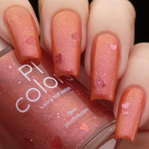 Strawberry Jam.228 Nail Polish with Red/Gold Shimmer and Heart Glitter by PI Colors