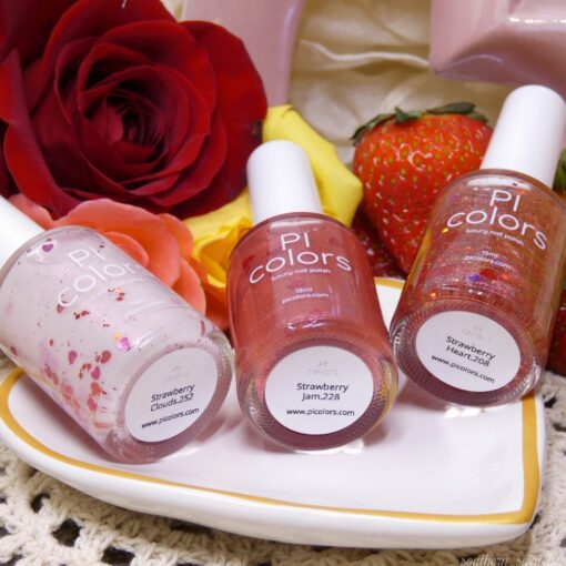 Strawberry & Hearts Collection Nail Polishes by PI Colors