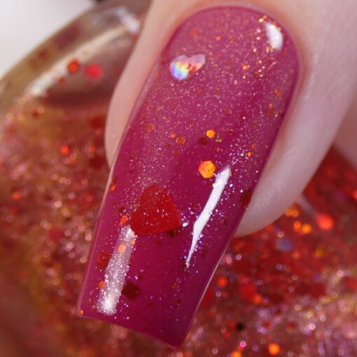 Strawberry Heart.208 Nail Polish Topper with Red/Gold Shimmer and Heart Glitter by PI Colors Over Berry Polish