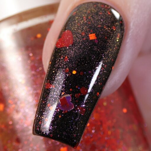 Strawberry Heart.208 Nail Polish Topper with Red/Gold Shimmer and Heart Glitter by PI Colors Over Black Polish