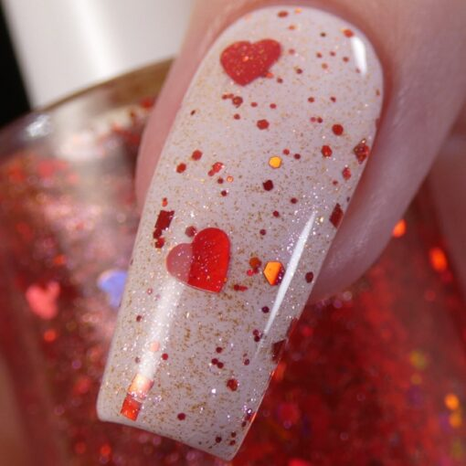 Strawberry Heart.208 Nail Polish Topper with Red/Gold Shimmer and Heart Glitter by PI Colors Over Light Lavender Polish