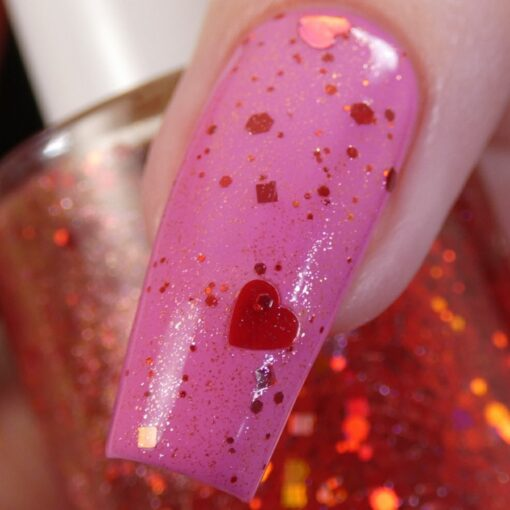 Strawberry Heart.208 Nail Polish Topper with Red/Gold Shimmer and Heart Glitter by PI Colors over Pink Polish